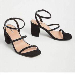 Torrid Black Faux Suede Ankle Strap Block Heel